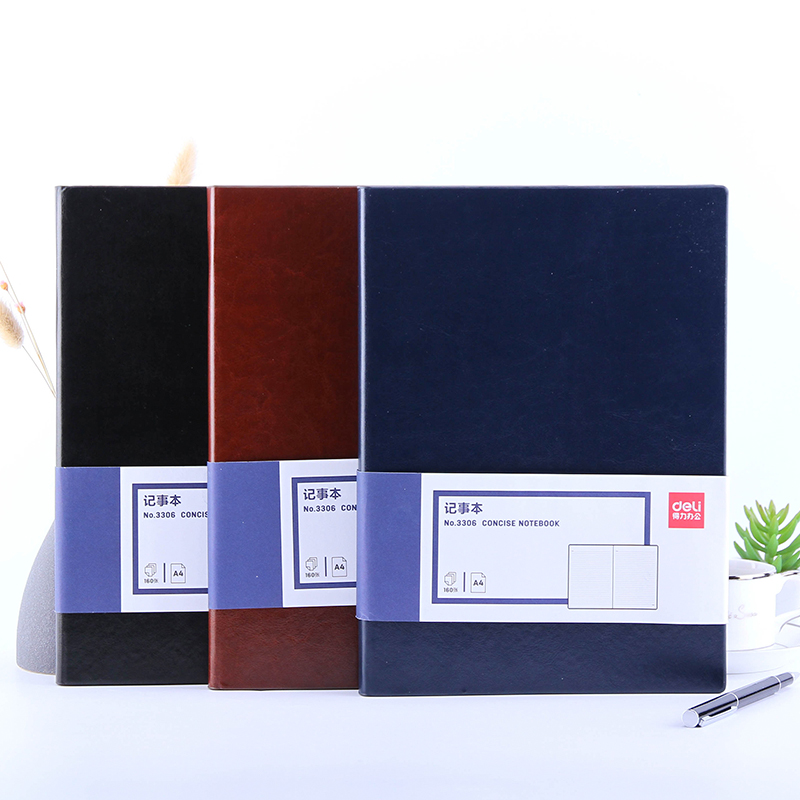 DELI Notebook A4 Planner Office Business Caderno Notebook 160 Sheets Planner Writing Diary Meeting Notebook School Office Supply