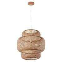 Современный светодиодный деревянный бамбуковая Подвесная лампа абажур, подвесная люстра освещение Кухонные светильники подвесная висяча