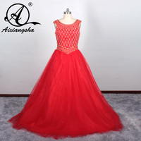 V neck Custom Made Crystal Beading Hot Red Quinceanera Dresses Ruffles Organza Low Back Dress for 18 Years