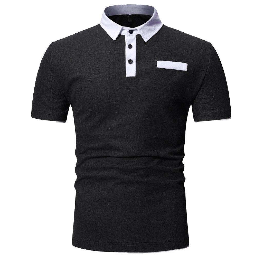 100% QualitäT 2019 Männer Polo Shirts Schwarz Weiß Polo-shirt Männer Lange Hülse Drehen-unten Kragen Herren Atmungsaktiv Polos Shirts Solide Farbe Camisa