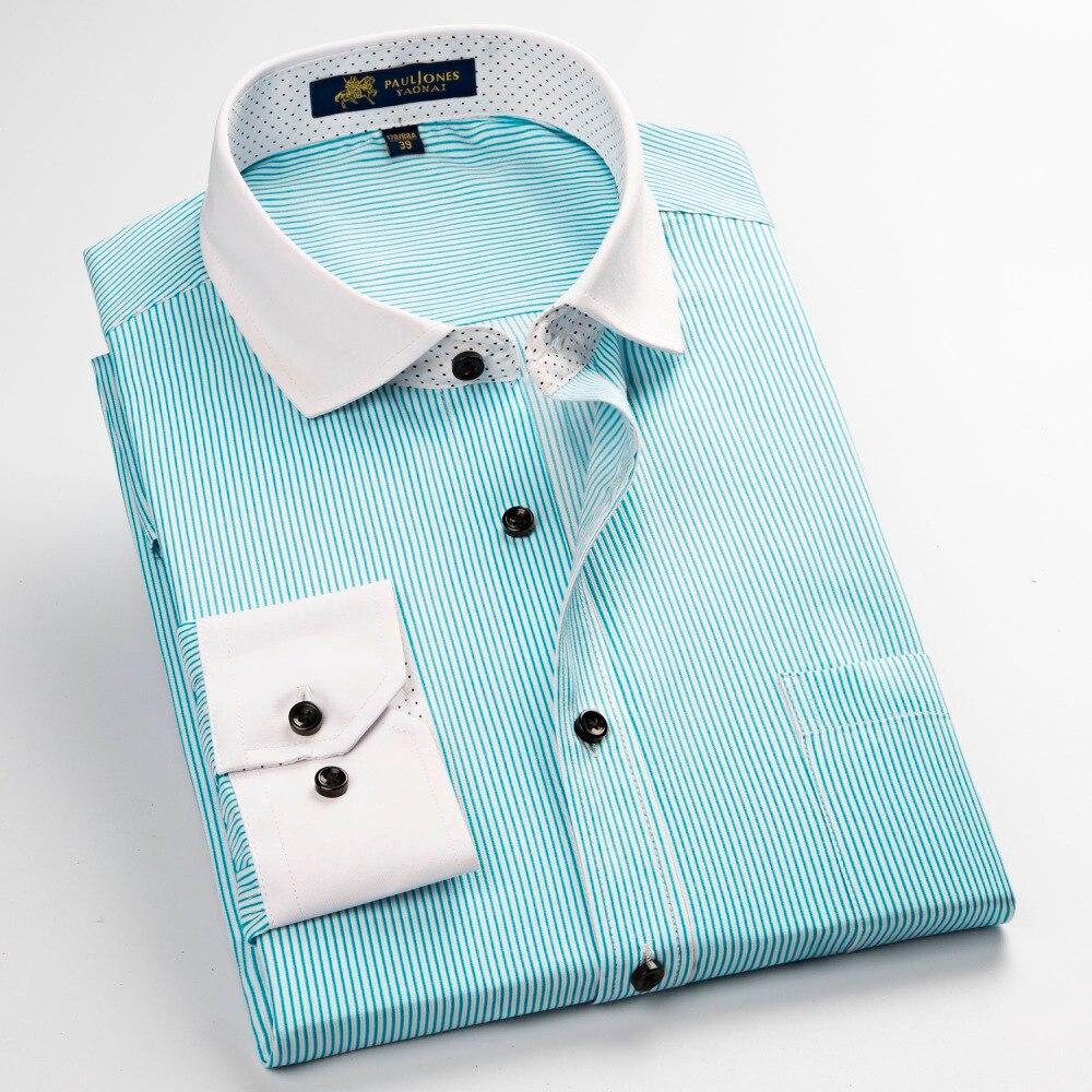 product 2017 new men's long sleeve shirts Spring casual Harmonia Collar grid stripe shirt for man High quality dress shirts men size
