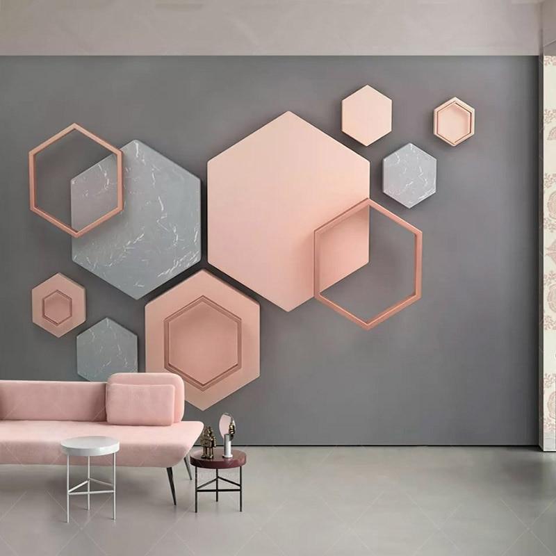 3D Stereo Hexagonal Geometric Mural Wallpaper Modern Simple Creative Art Wall Painting Living Room TV Background Wall Decor 3 D