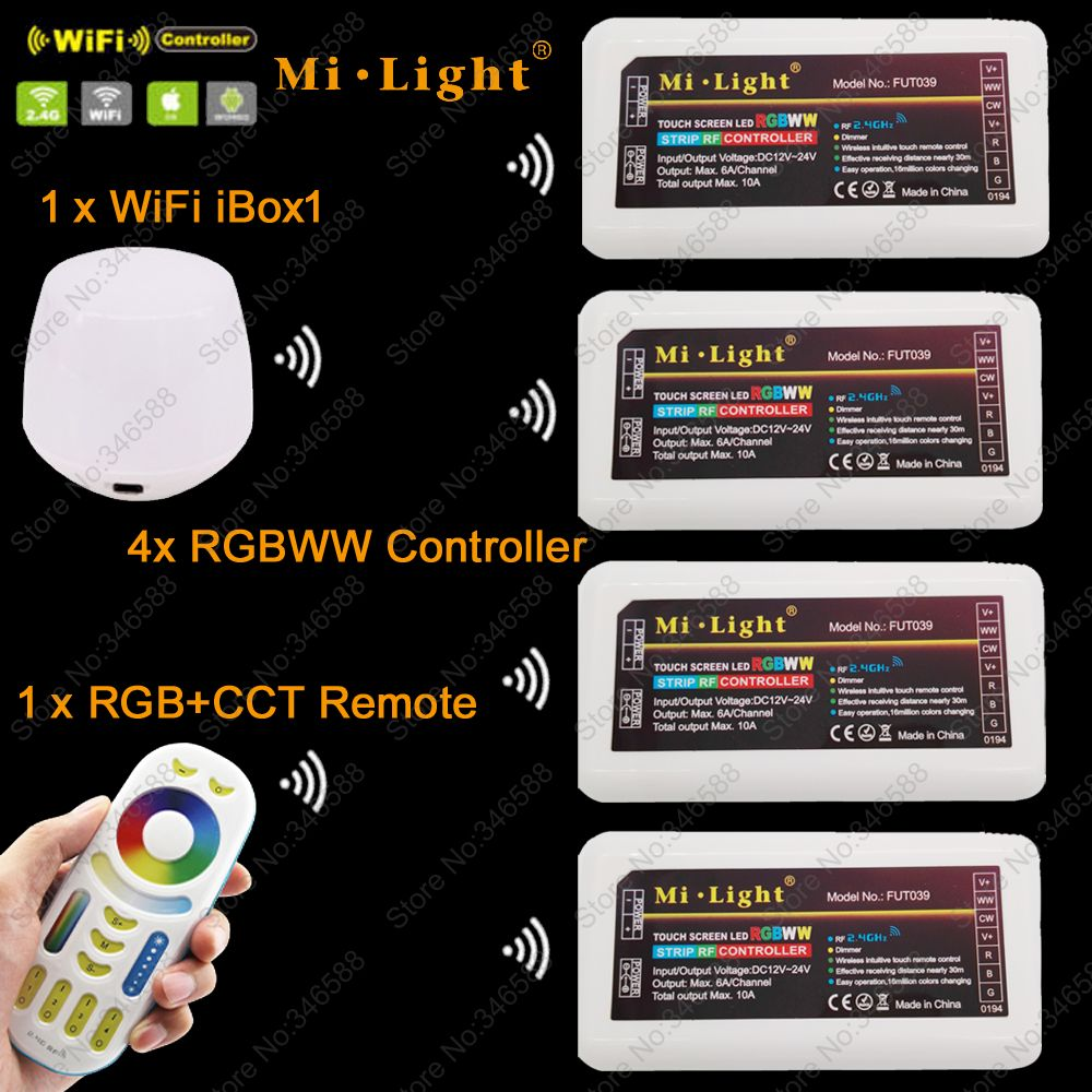 MiLight RGBWW (RGB+Cool White+Warm White) Controller DC12-24V 2Ax5CH + 2.4G RF Wireless RGB+CCT 4-Zone Touch Remote + WiFi iBox1 2 4g milight ibox1 hub rf remote wifi ler with rgb light wireless control for milight led bulbs support ios android app dc5v