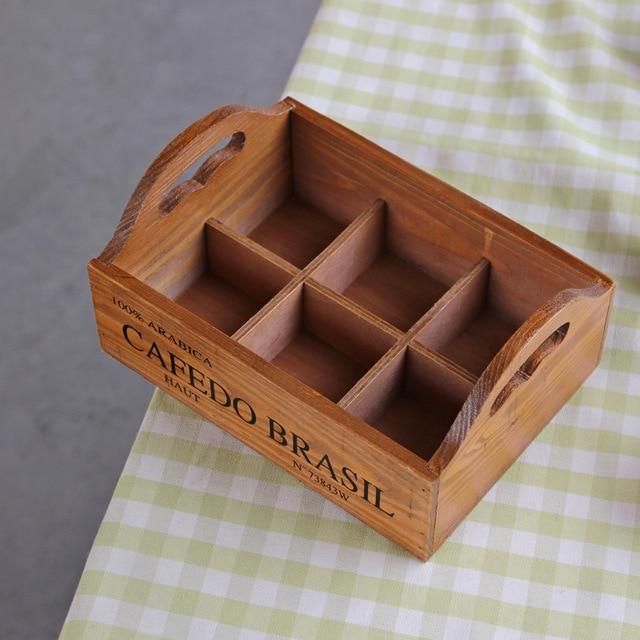 Portable Wooden Storage Box Multi Function Handle Stackable Succulent Plants Storage Boxes Home Decor
