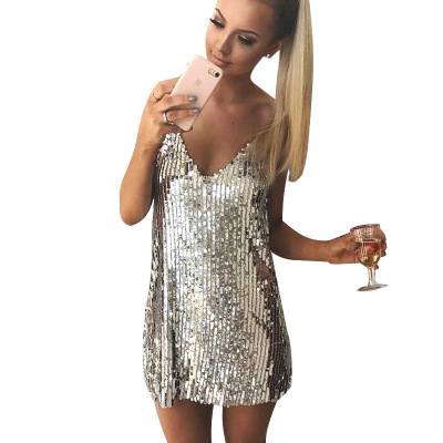Deep V Neck Mini Dresses Silver Sequined Sexy Christmas Club Party Dress Women Strap Sleeveless Dress Vestido 2019 Summer Dress