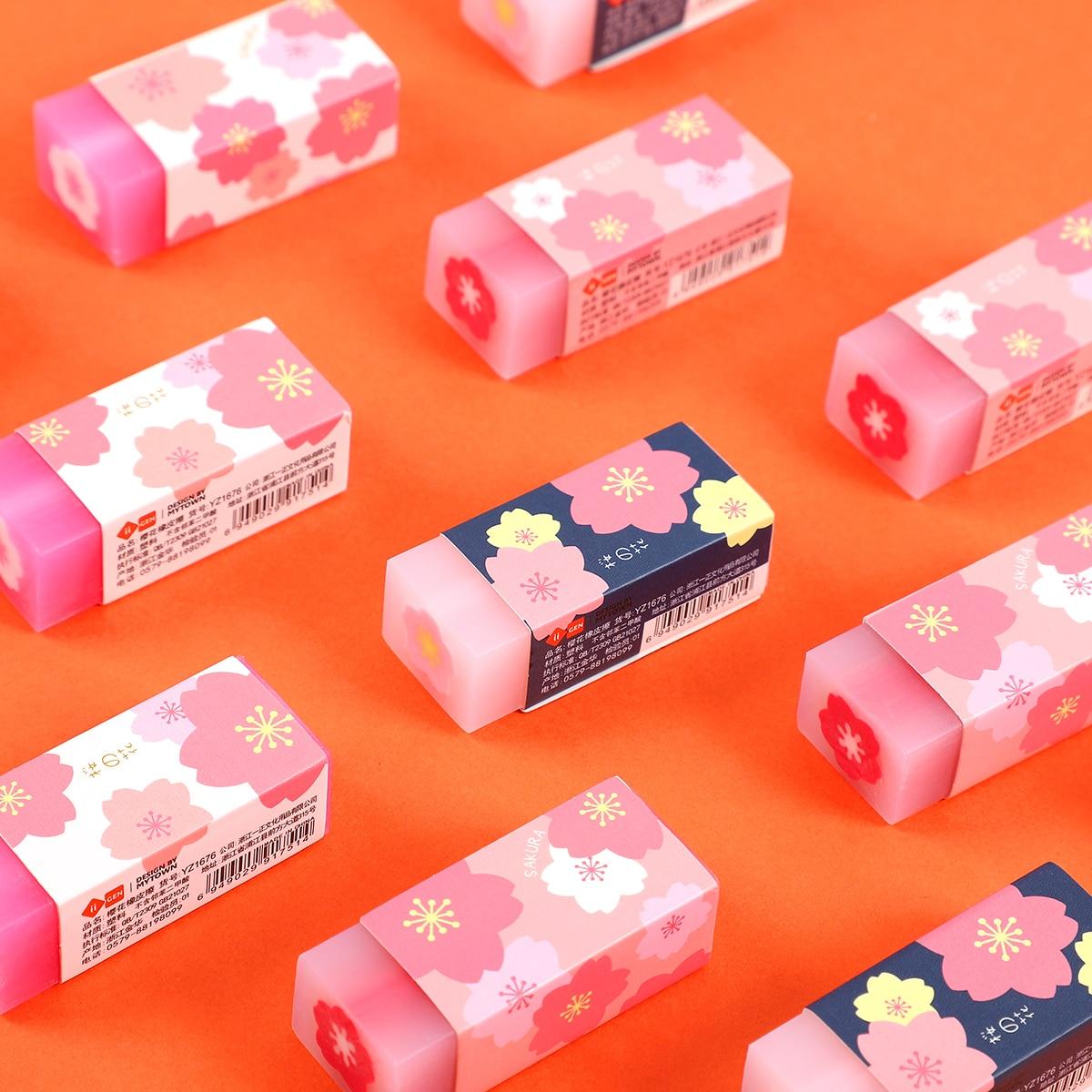 1PC Lovely Sakura Design Petal Rubber Pencil Erasers Sketch Painting Eraser For Student School Office Stationery Kawaii