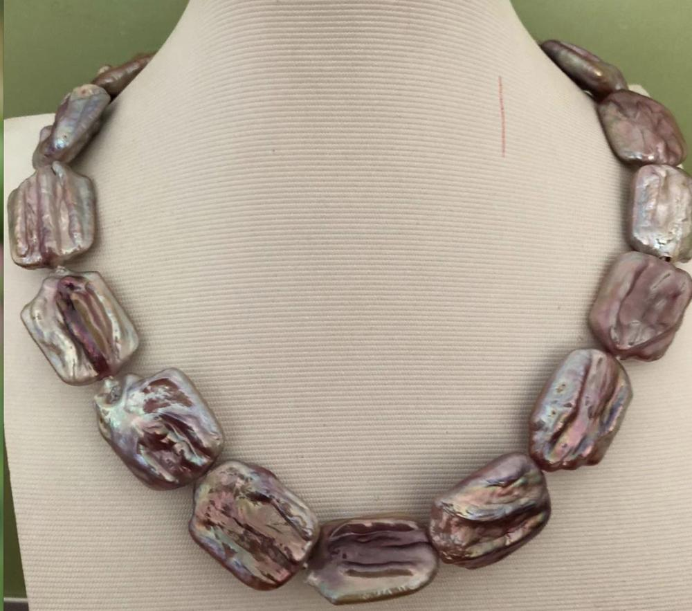 gorgeous 14-17mm south sea baroque lavender pearl necklace 18inch цена