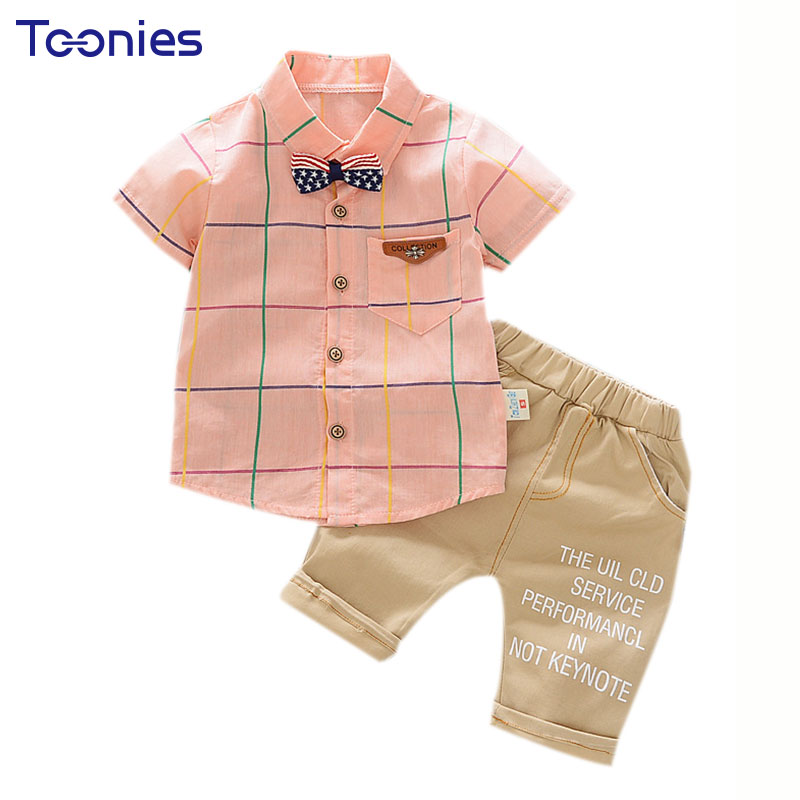 New Formal Infant Baby Newborn Clothes Set Short Sleeve Plaid Shirt + Shorts Boy Girls Clothing Suits Cotton Summer Kid Clothes stoosh new salmon juniors roll tab sleeve plaid shirt s $34 dbfl