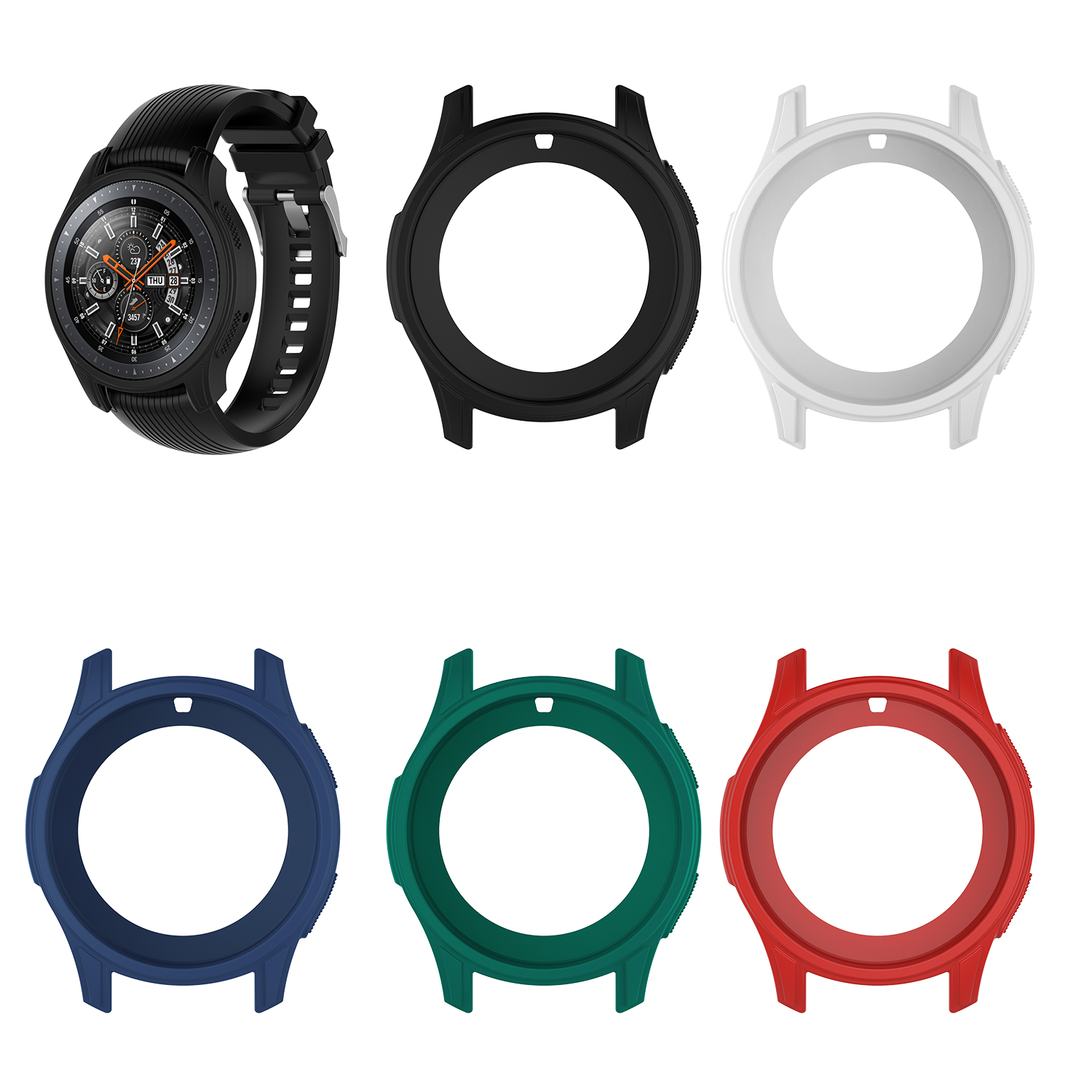 5 Colors Silicone Protective Case For Samsung Gear S3 Frontier Cover Screen Protector Smartwatch Case For Galaxy Watch 46MM-in Smart Accessories from Consumer Electronics