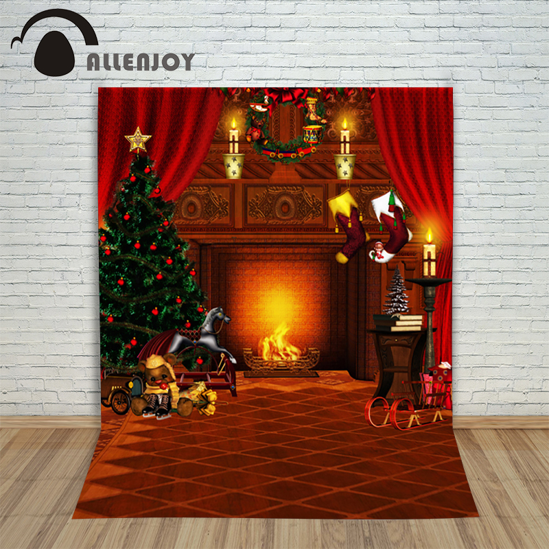 Christmas photography backdrops 5x7ft xmas Tree Fireplace Fire Wreath baby photocall photo background for photographic studio christmas tree backdrop photography allenjoy wooden carpet fireplace xmas tree background photographic studio vinyl camera