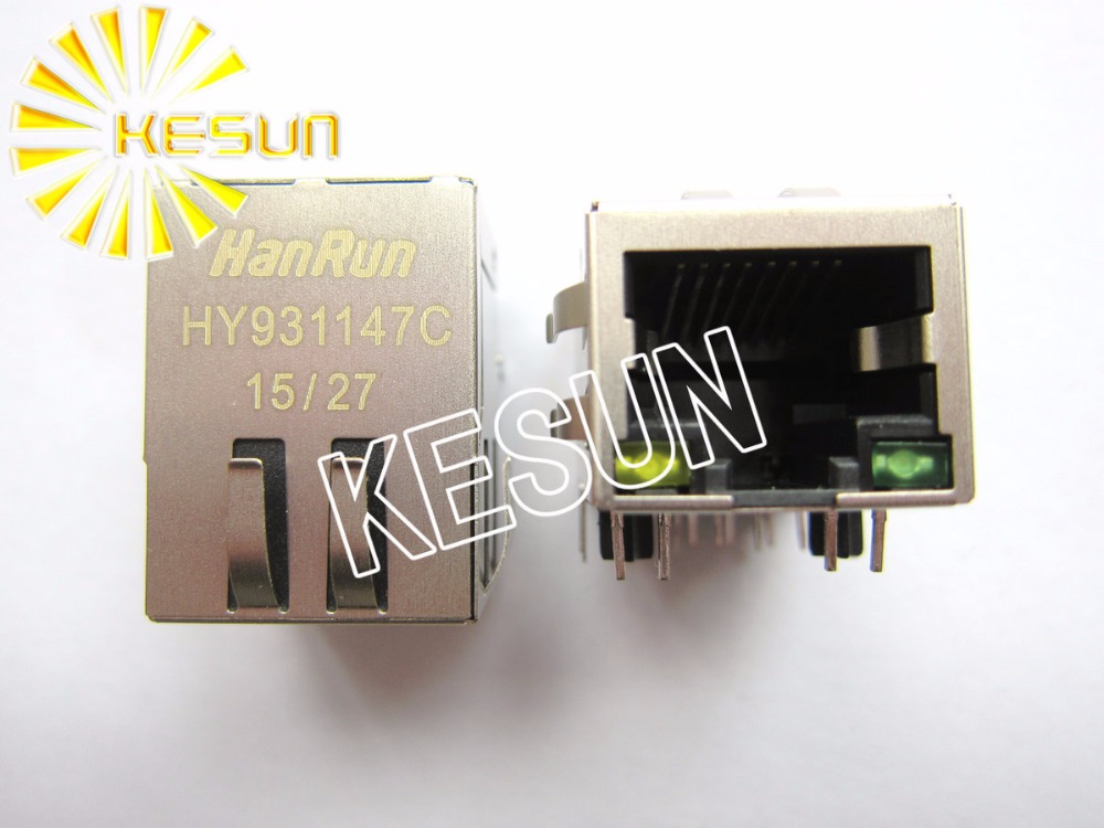 FREE SHIPPING 5PCS x HY931147C RJ45 Shield type With Transformer PCB Right Angle Modular Female Network Socket LAN Connector high quality right angle pin 8p8c rj45 pcb jack female modular network connector 25pcs