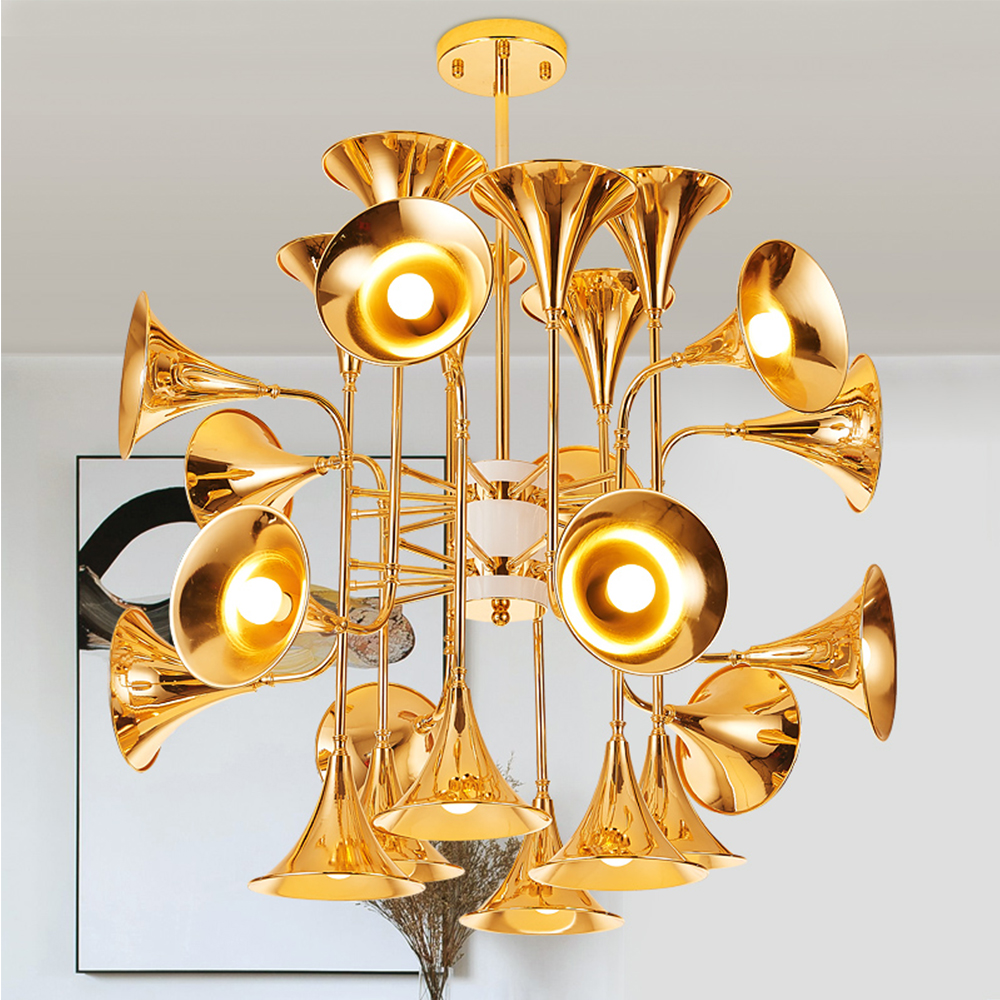 Musical Instrument Horn Hanging Light Chandelier Suspension Lamp Lighting Fixture Trumpet Group 12/16/24 Head for Parlor Hotel edison loft style hemp rope droplight industrial vintage pendant light fixtures for dining room hanging lamp lamparas colgantes