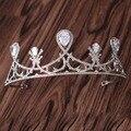 Новое Поступление Великолепный Благородный Циркон короны Диадемы Мода Благородный azorite Диадема для принцессы ободки Свадебные аксессуары Для Волос