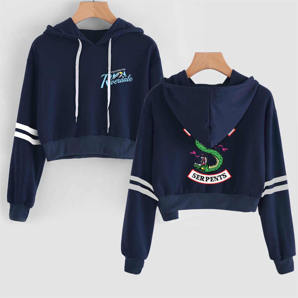 New Crop Top Hoodie Sweatshirt Kpop Riverdale Southside Serpents Hoodie Hooded Tops Women Harajuku Striped Coat Women Tops