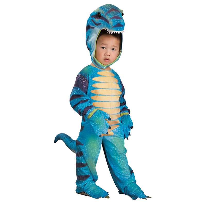 Kids Little Blue T-Rex Costume Cosplay Dinosaur Jumpsuit