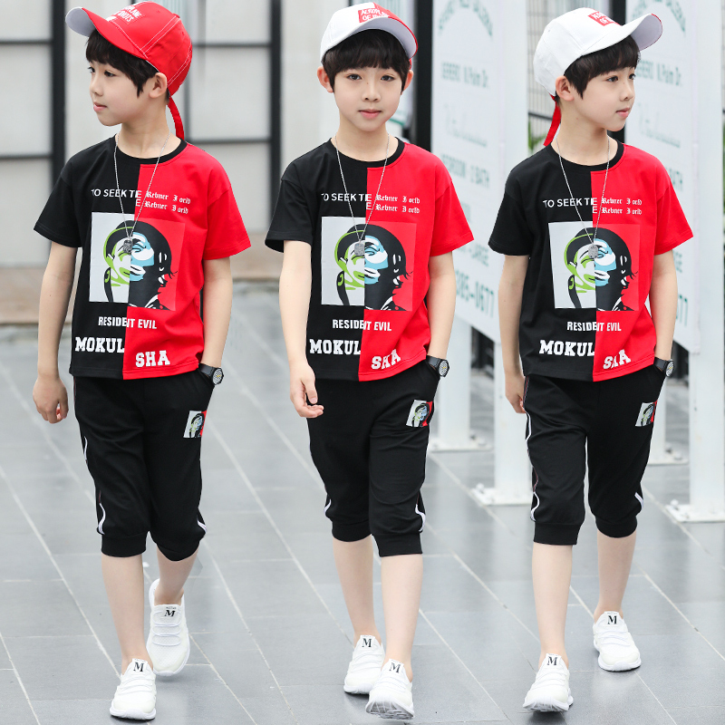 Children's Clothing Short-Sleeve Two-Piece Boys Korean Summer Big Handsome-Suit Tide