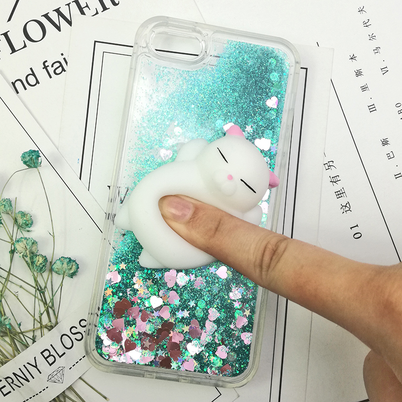 3D Cartoon Squishy Cat Quicksand Case For iPhone 5 s SE Case For iPhone 6 6s 7 8 Plus X Case Glitter Liquid Back Cover Case (14)