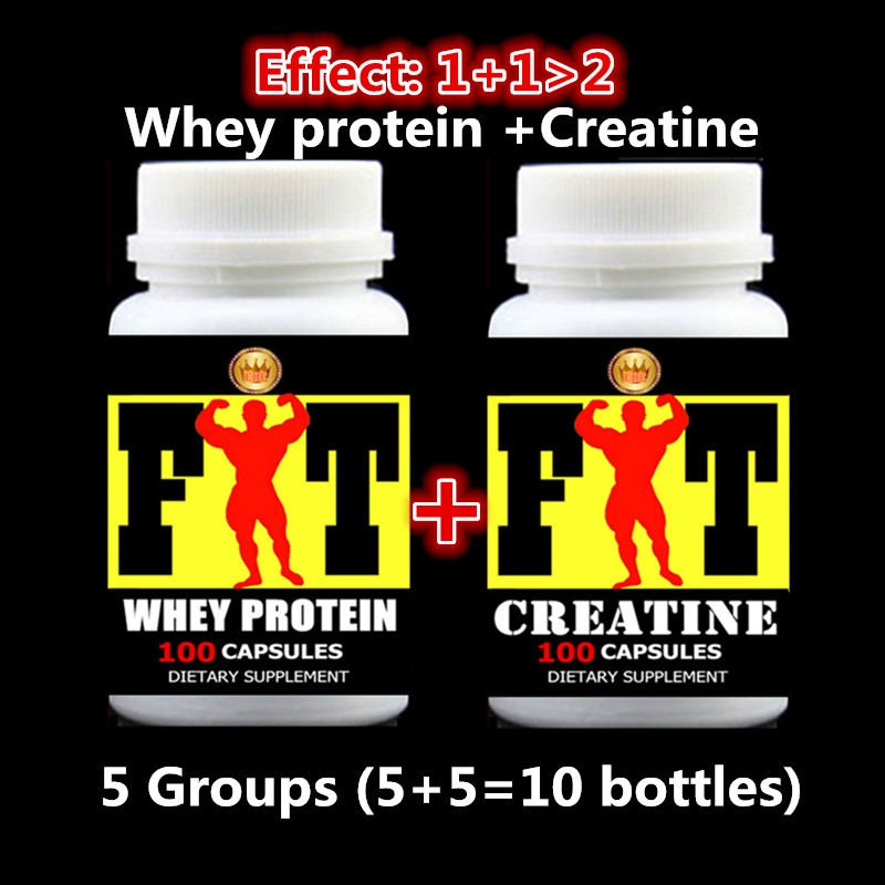 Whey Protein + Creatine Capsules - (1000pcs 10 bottles) For Fast add muscle effect 1+1>2 Fitness supplement Free shipping 1kg bulk packing sports supplement supplement optimum nutrition powder whey protein isolate