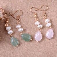 Natural pearl green dongling, water crystal pendant Pixel earrings eardrop long restoring ancient ways