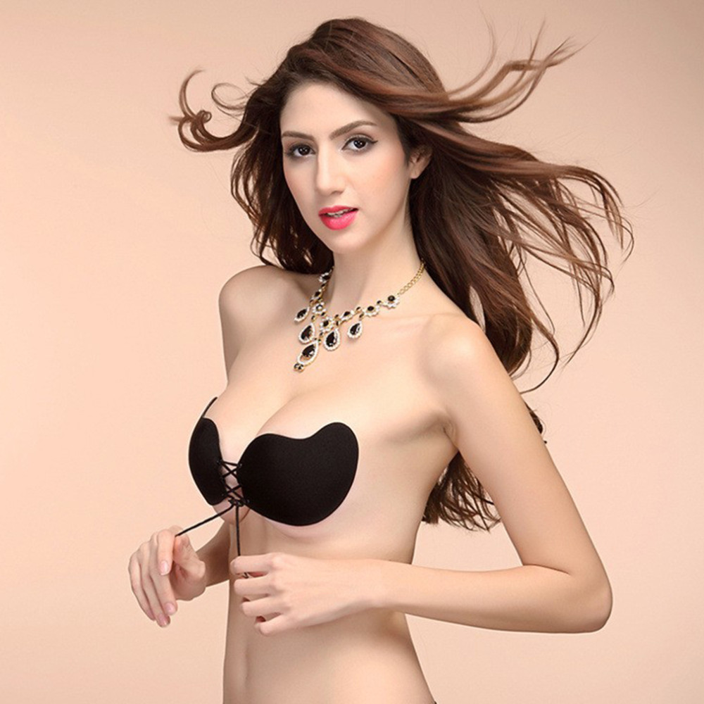 B027 New Arrival Hot Sale Push-up Bra Strapless Bra A B C D Solid Wire Free Invisible Bra Black Khaki Everyday Bras For Women