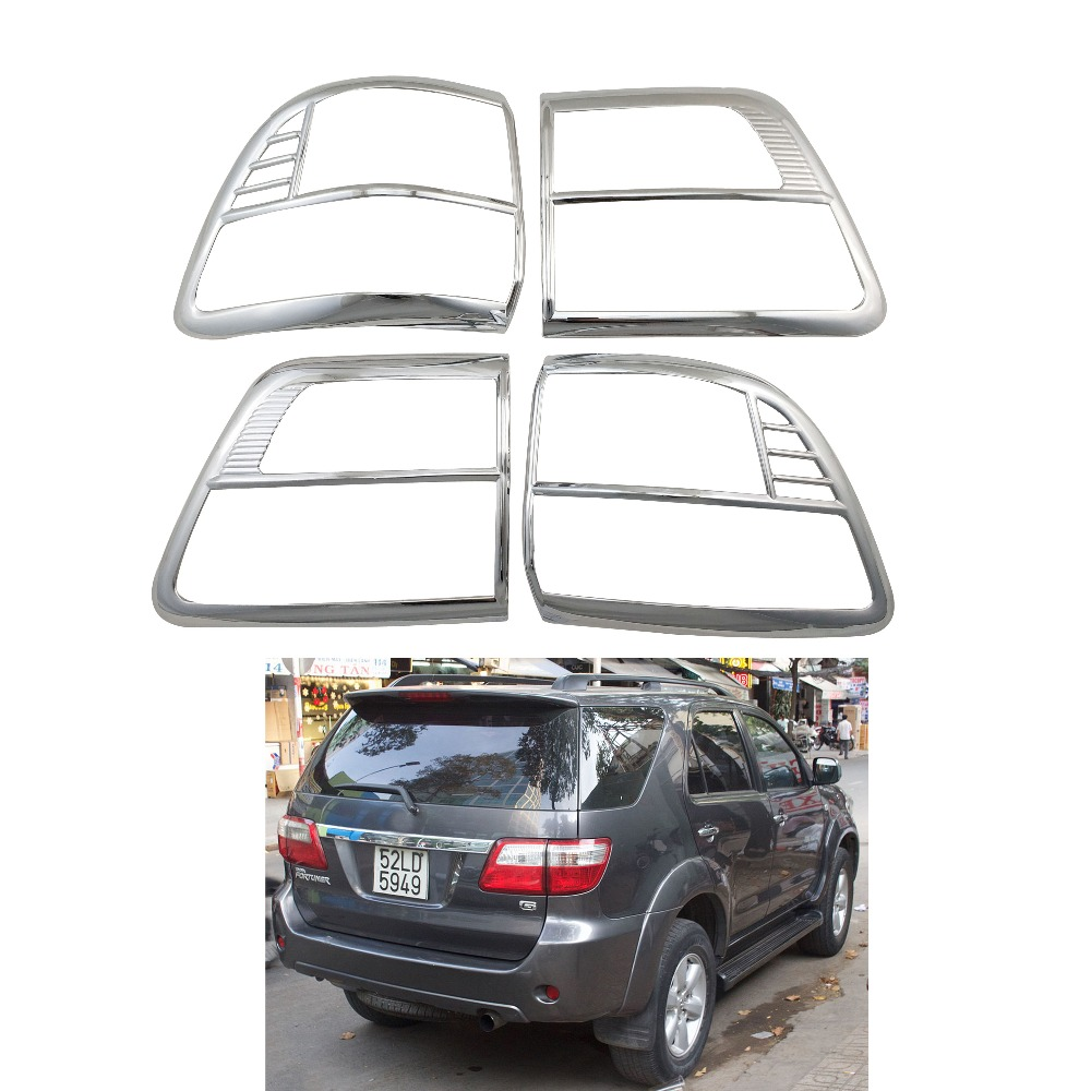 2008 2009 2010 2011 For Toyota Fortuner Hilux SW4 ABS Chrome Accessories Plated Rear Light Lamp Cover Trim Tail Light Cover 4pcs