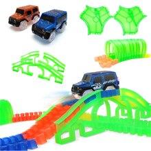 Светящийся гоночный автомобиль трек Светящиеся в темноте игрушки переулок/туннель/Арка мост автомобиль набор изгиб гибкие автомобили игрушки для детей Brinquedos