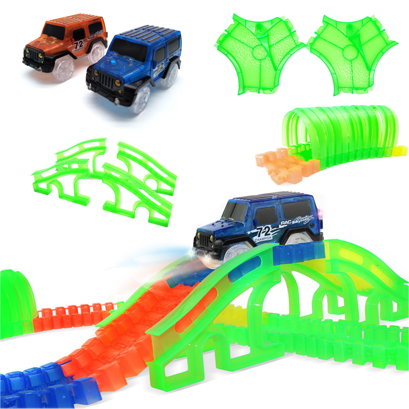 Glowing Car Racing Track Glow In Dark Toys Lane Change/Tunnel/Arch Bridge Car Set Bend Flexible Cars Toy For Children Brinquedos