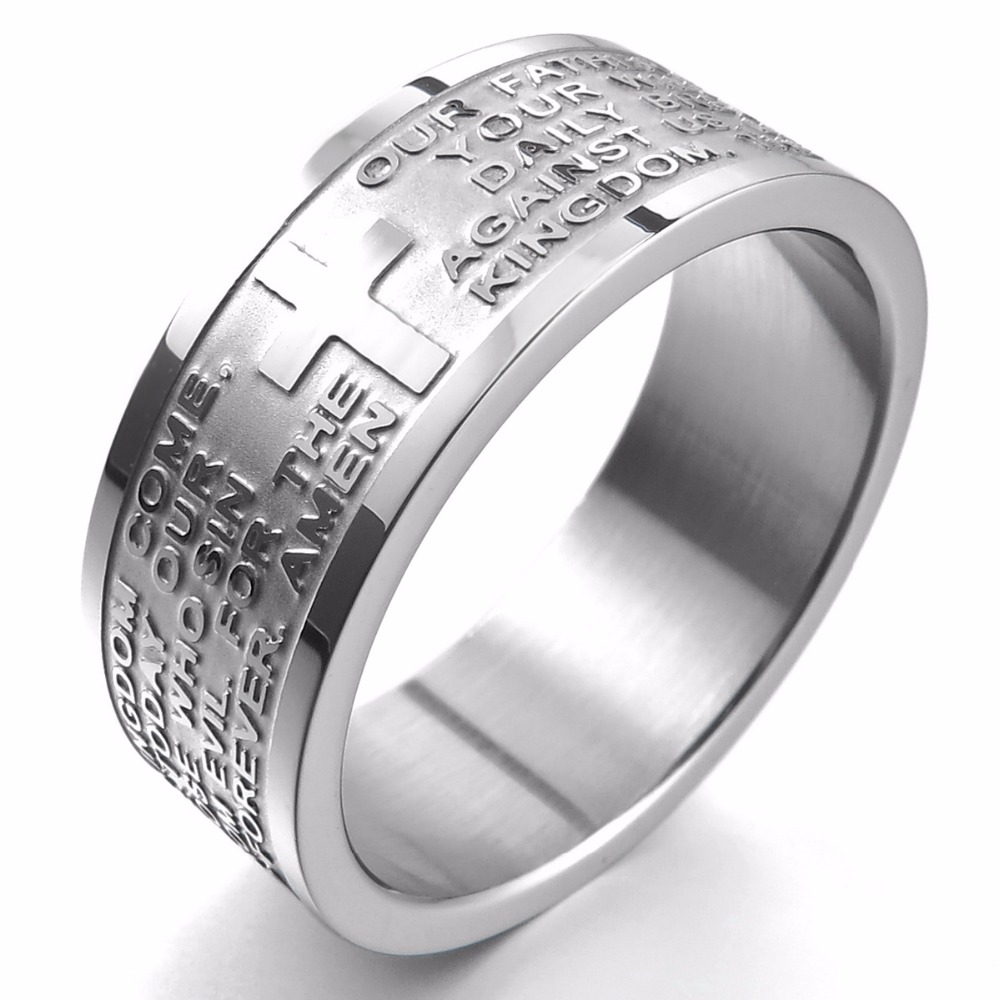 12P Wholesale Lot Spanish Scripture Stainless Steel Silver Plated Ring