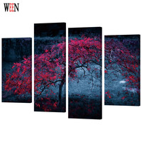 WEEN Dusk Maple Tree HD Printed Framed 4pc Canvas Art Scenery Wall Pictures For Living Room Poster Directly Handed Art 2017 Gift