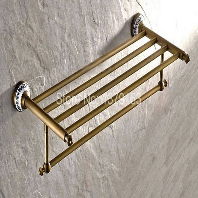 bathroom accessory vintage retro antique brass wall mounted bathroom towel rail holder storage rack shelf bar - Bathroom Accessories Towel Rail