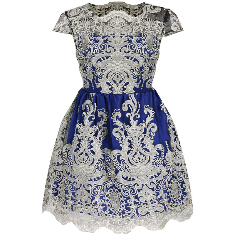 New solid color short sleeve Slim evening Europe and the United States station retro women's embroidery dress female 3