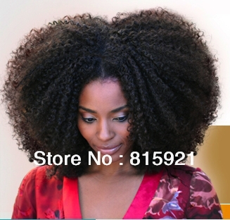 Factory Bottom Price #1B 100% Indian Hair Full Lace Wig Afro Kinky Curly - EJS Shop store