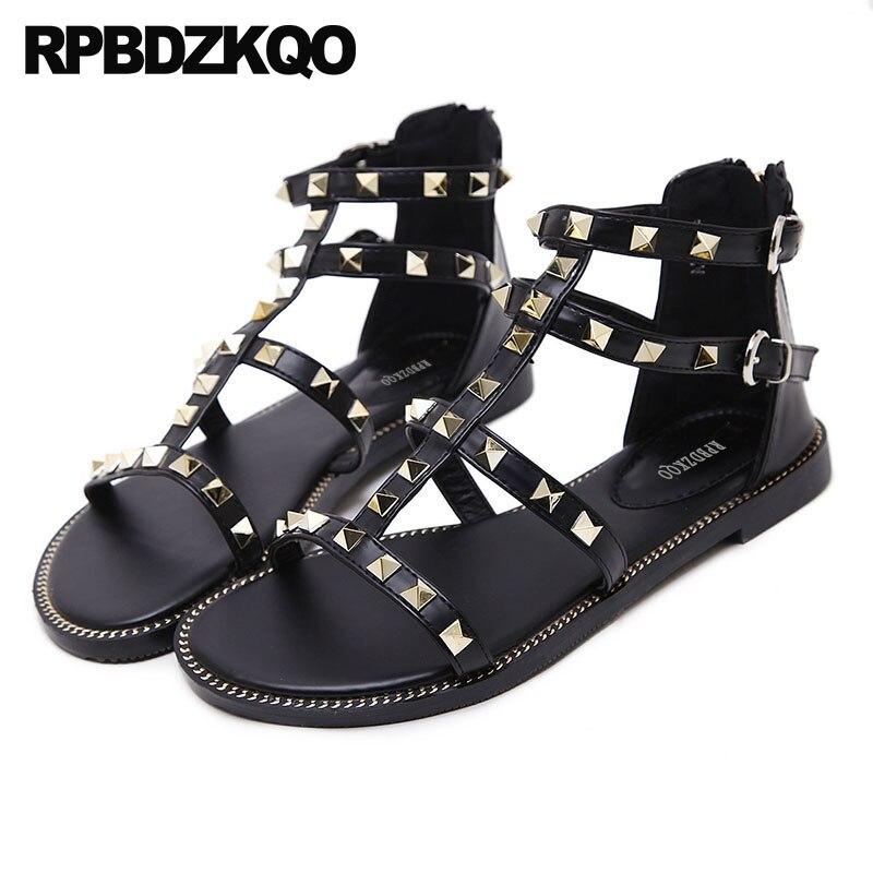 Open Toe T Strap Black Ladies Roman Flat Luxury High Quality 2018 Gladiator Rivet Rock Stud Shoes Women Strappy Sandals Summer strappy toe post flat sandals