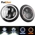 Free shipping 1 Pair White DRL Halo Angle Eyes 7'' Round LED Headlight For Wrangler JK TJ LJ H4  High/Low Beam Headlights