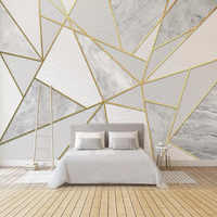 Modern Simple 3D Geometric Marble Wallpaper Golden Line Photo Wall Murals Living Room Bedroom Background Wall Painting 3D Fresco
