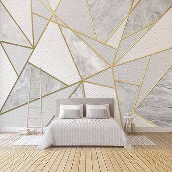 Modern Simple 3D Geometric Marble Wallpaper Golden Line Photo Wall Murals Living Room Bedroom Background Painting Fresco