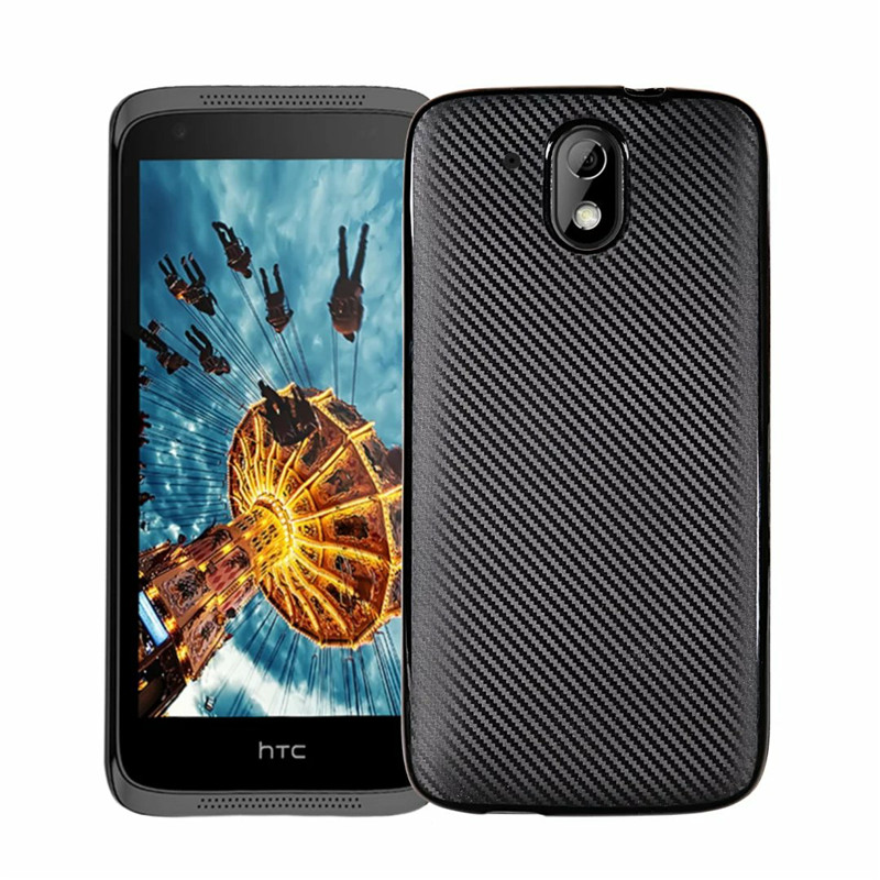 For HTC Desire 526 526G 526G+ 326 326G 4.7inch Case Carbon Fiber Light Soft Cover For HTC Desire 526G+ dual sim Phone Bag Case image