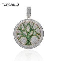 TOPGRILLZ Tree of Life Spinner Pendant Necklace Iced Out Hip Hop/Punk Gold Silver Color Chains For Men CZ Charms Jewelry Gift