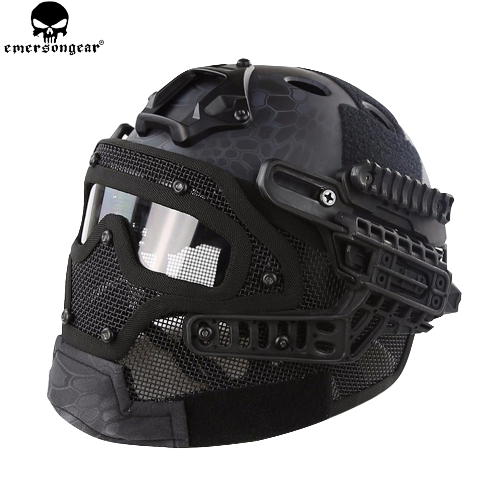 EMERSONGEAR G4 System ABS Tactical Helmet With Full Face Mask And Goggle For Military Airsoft EMERSON Helmet Multicam EM9197