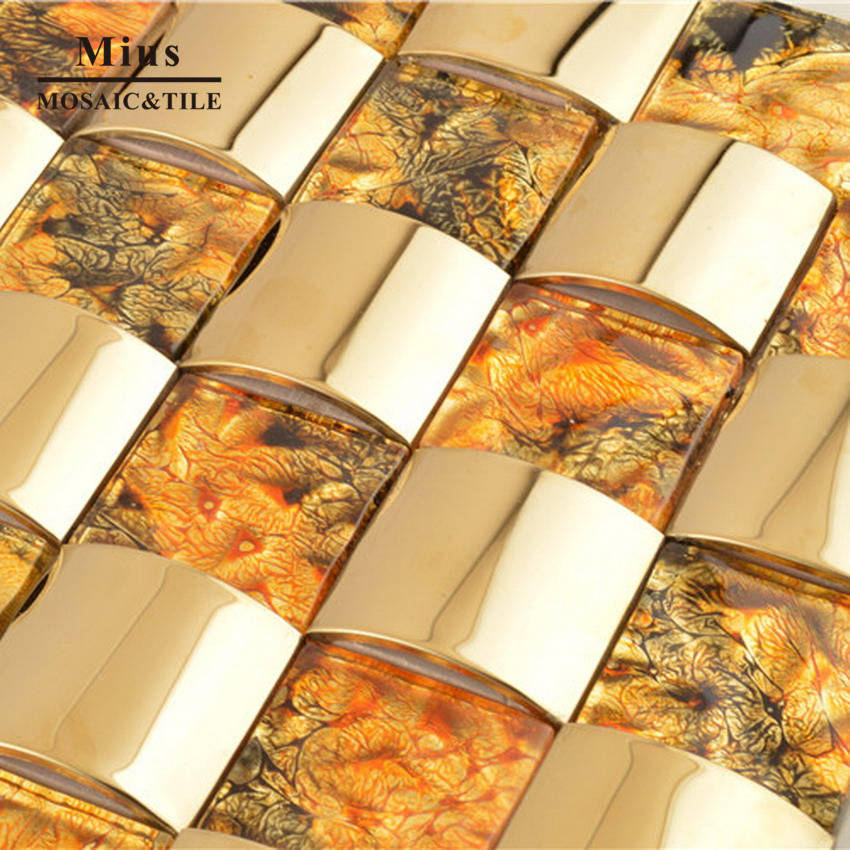 Fashion gold arch stainless steel metal tile mosaic mix crystal tile bathroom design