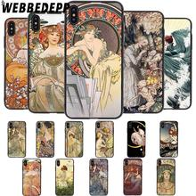 WEBBEDEPP Art Poster ALPHONSE MUCHA Slim Soft Case for iPhone 5 5S 6 6S 7 8 Plus X XS 11 Pro MAX XR Cover