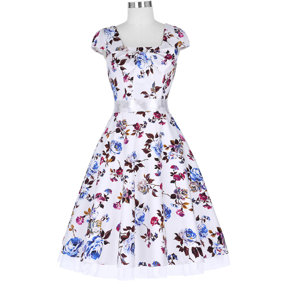 Floral Print Wide Swing Women Summer Dress 1950s Retro Pleated Waistband Casual Robe Prom Party Picnic