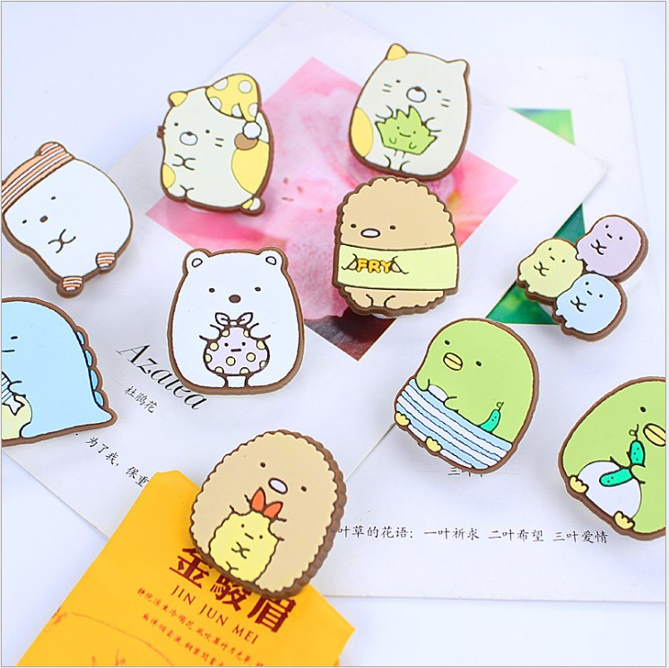 1pcs Cartoon PVC Japan San-x Sumikko Gurashi Bookmark Spring Clips Student Stationery Memo Clip Kids Toy Gift