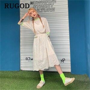 Image 3 - RUGOD vestido midi de encaje bordado para verano, elegante vestido con volantes para mujer, estilo coreano chi, para fiesta en la playa