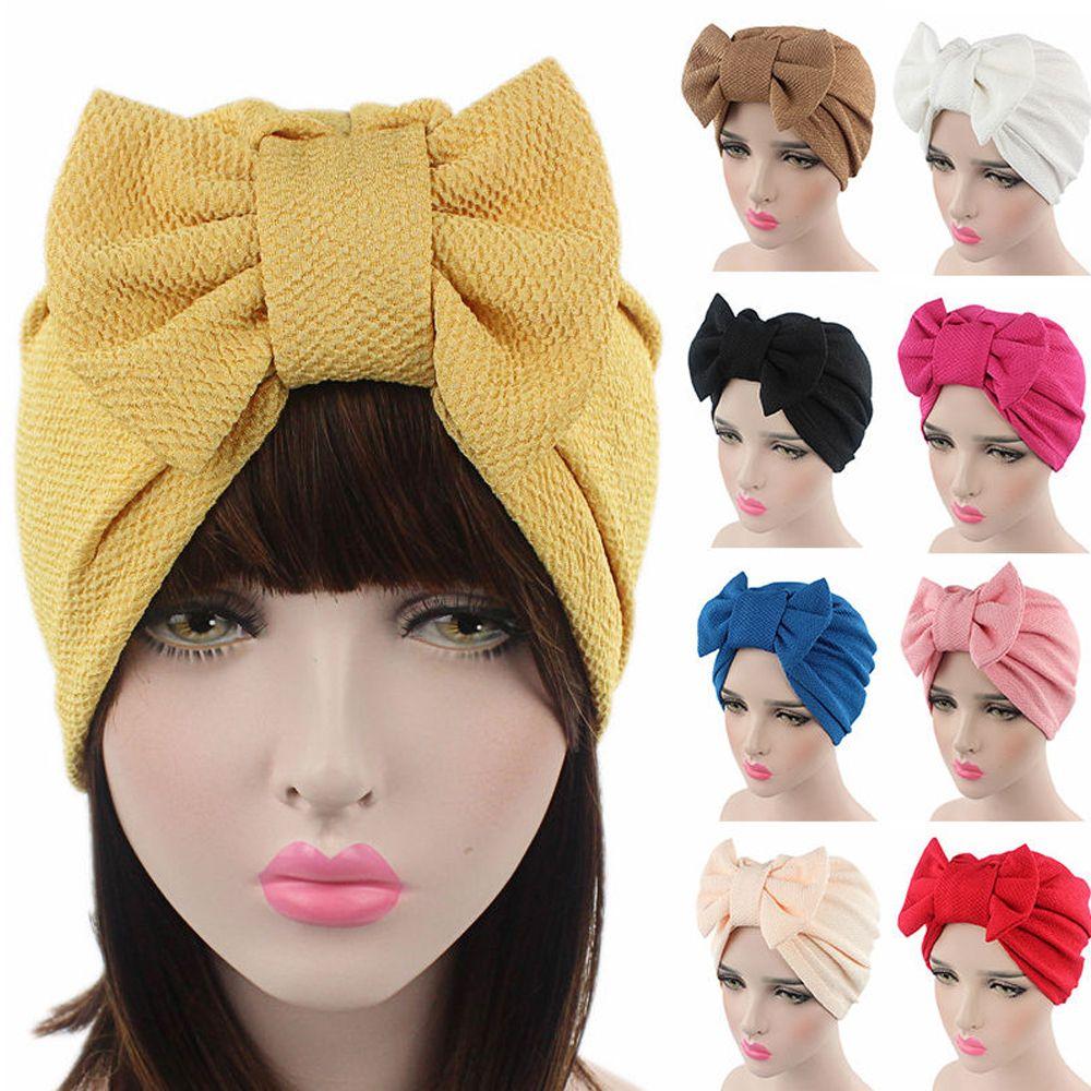 2017 Fashion Women Big Bow Turban Hat Headdress Bow Knot Bonnet Hat Chemo Hair Cap Soft Snood Hat