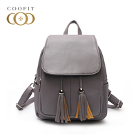 Coofit Small Backbag For Girls Women Leather Backpacks With Tassel Female Casual Design Fashion Drawstring Daypack Purse Bagpack