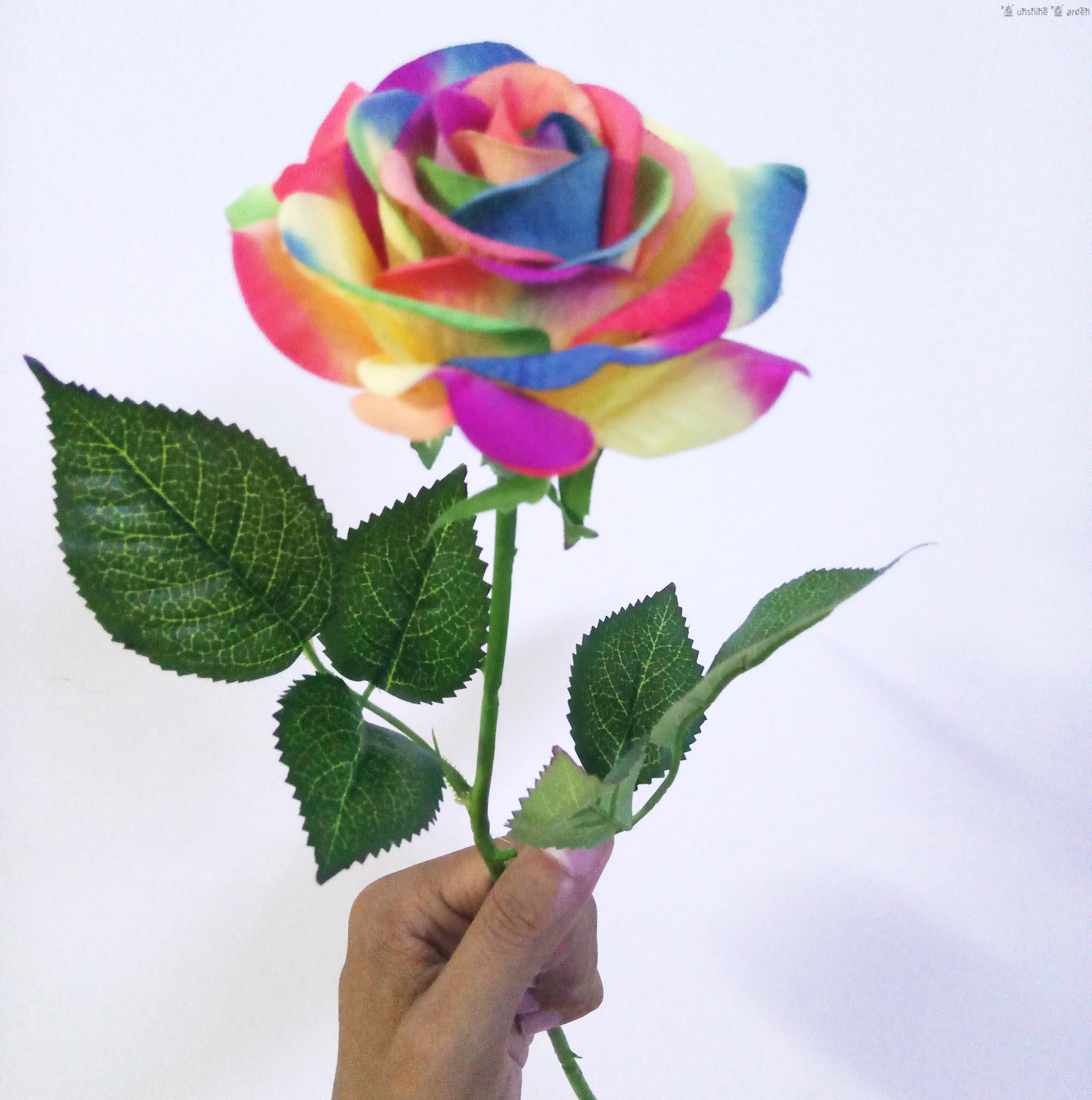 15 Pcs Single Stem Fake Colorful Silk Flower Artificial Rainbow Rose