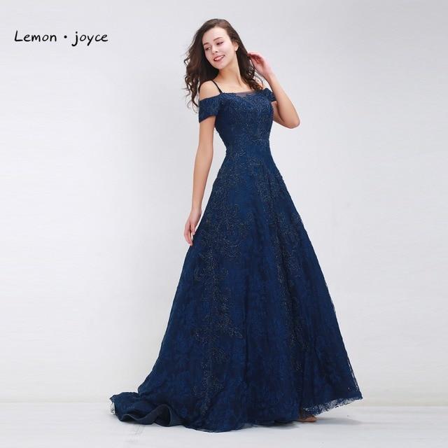 Dark Blue Prom Dresses Long 2018 Elegant Boat Neck Beading Lace A line  Floor Length Luxury Evening Dresses Plus Size-in Prom Dresses from Weddings  & ...