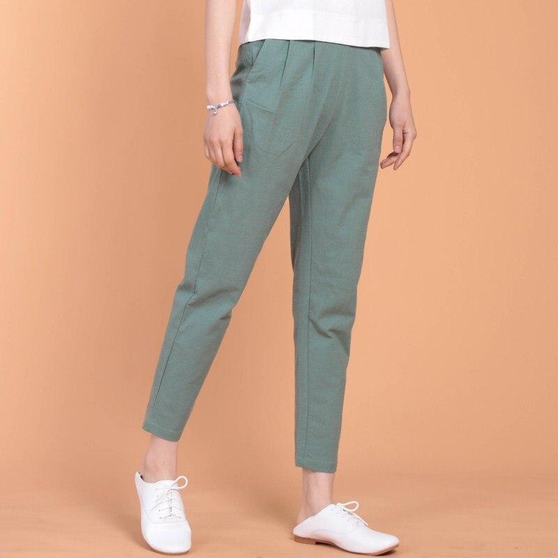 2019 Neue Sommer Frauen Lose Baumwolle Leinen Hosen Lässig Elastische Taille Pluderhosen Vintage Weiblichen Hosen Plus Größe Hosen M-6xl 7xl