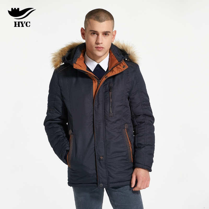 HAI YU CHENG Men Winter Coat Wadded Parka Mens Hooded Jackets Motorcycle Jacket Slim Trench Mens Windbreaker Winter Coats 7766 hai yu cheng winter jacket men wadded parka male wind breaker long trench coat plus size men coat outerwear hood winter anorak